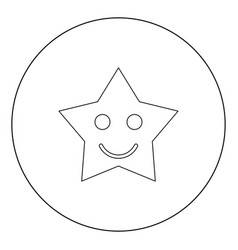 smiling star black icon in circle isolated vector image