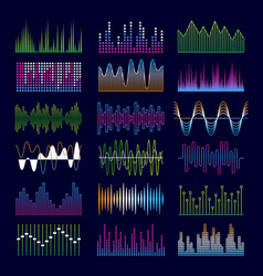 sound waves music symbols equalizer shapes signal vector image