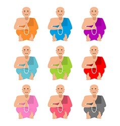Tibetan monk set buddhist tibet in colorful robes vector