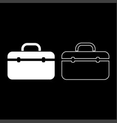 tool box professional icon set white color flat vector image