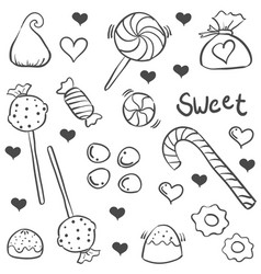 Various candy sketch of doodle art vector