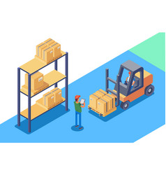 Warehouse for storage and distribution of cargo vector
