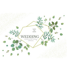 wedding greenery frame invitation card template vector image