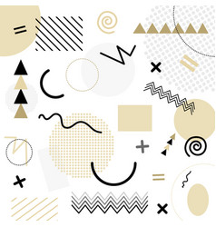 White abstract geometric chaotic pattern memphis vector