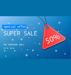 winter super sale concept background realistic vector image