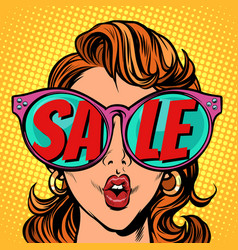 woman with sunglasses sale in reflection vector image