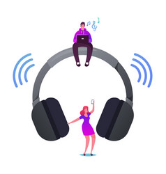 Young characters listen music on player or mobile vector