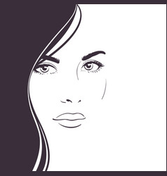 young woman face with long dark hair vector image