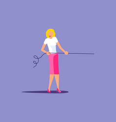 Young woman pull rope vector