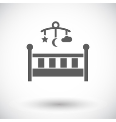 Baby bed flat icon vector image vector image