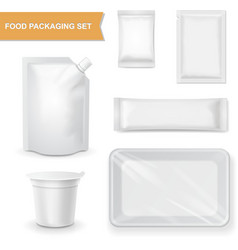 Blank white packaging realistic set for snack food vector image vector image
