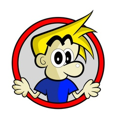 Blonde Boy on Red Circle vector image