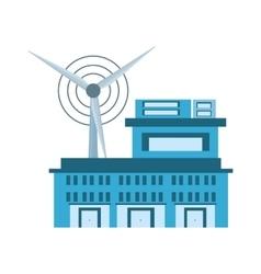 building factory wind turbine clean energy vector image