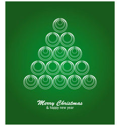 Christmas card with white tree and balls on green vector image vector image