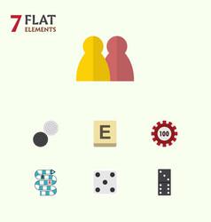flat icon games set of people mahjong bones game vector image vector image