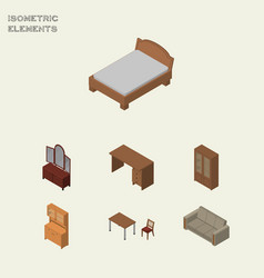 Isometric furniture set of drawer cabinet table vector