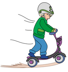 little boy ride on scooter vector image