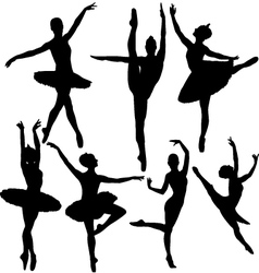 Ballet female dancers silhouettes vector image