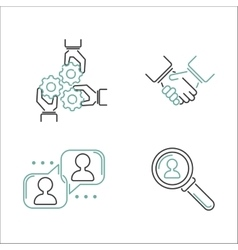Business teamwork outline icons vector image