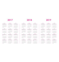 calendar template for 2017 2018 2019 vector image