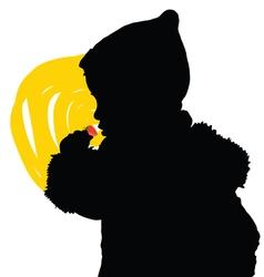 Chil eat fruit silhouette vector