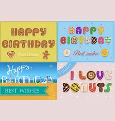 happy birthday inscription by unusual font vector image