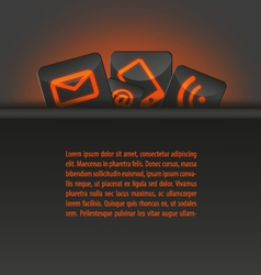 Icons in a pocket document template orange vector