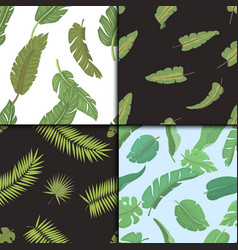 Seamless pattern with banana leaves vector