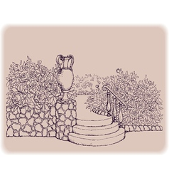 Steps surrounded by flowers in the park vector image