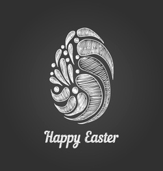 Greeting card with doodle easter egg-3 vector image