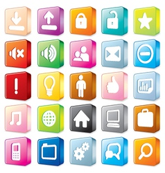 3D colorful interface icons vector image vector image