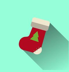 christmas sock icon with long shadow vector image