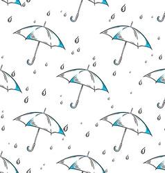 hand drawn umbrella and rain drops pattern vector image vector image