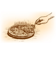 Pizza drawn by hand vector image vector image