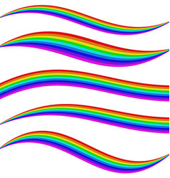 Striped rainbow waves - graphic element set vector image