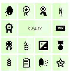 14 quality icons vector