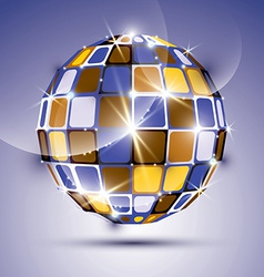 3D glossy violet fractal mirror ball created from vector