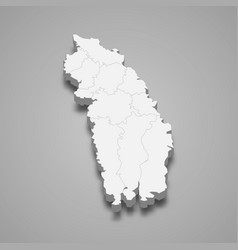 3d isometric map khulna is a division of vector image