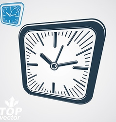 3d square wall clock with black dial simple vector image