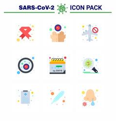 9 flat color set corona virus epidemic icons vector