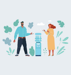 a man and woman standing and talking around a vector image