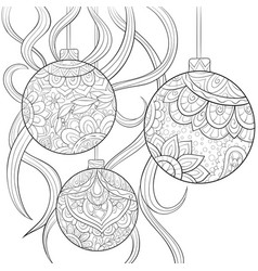Adult coloring bookpage the christmas balls image vector