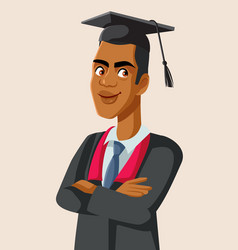 Afro american male graduate student vector