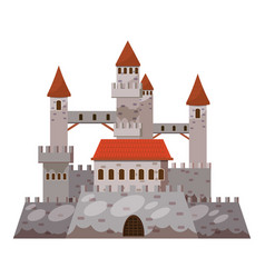 Ancient castle icon cartoon style vector