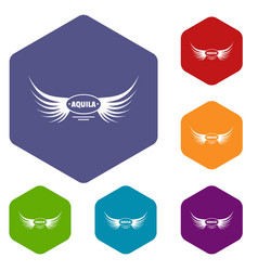 Aquila wing icons hexahedron vector