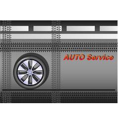 auto service car wheel on the asphalt vector image