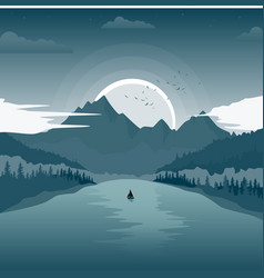 Beautiful landscape with mountain lake at dawn vector