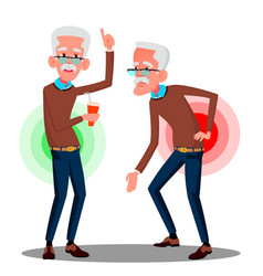 bent over old man from back ache sciatica vector image