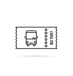 black linear bus ticket simple logo vector image