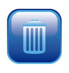 blue square frame with trash container icon vector image